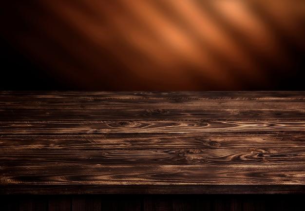 Donkere houten tafel, bruin houten perspectief interieur