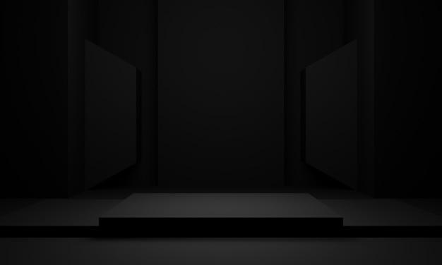 Donkere kamer podium. zwarte standaard. 3d-weergave.