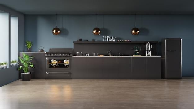 Donkere keuken interieurconcept.
