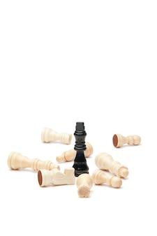 Donkere koning en witte schaakstukken