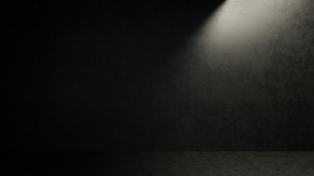 Donkere lege betonnen kamer met lichte glans van celling hole.3drender illustratie.