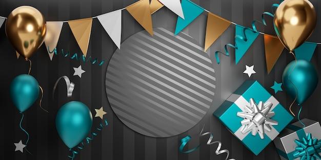 Donkere partij element banner achtergrond. 3d gouden blauwe ballon geschenkdoos ster en hangende vlag op zwarte streep achtergrond. 3d illustratie rendering