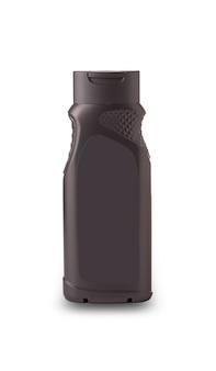 Donkere plastic fles met de mannelijke douchegel op witte achtergrond