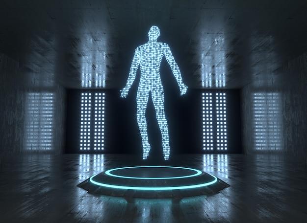Donkere sci-fi kamer met neon platform en digitale man daarop. 3d-rendering