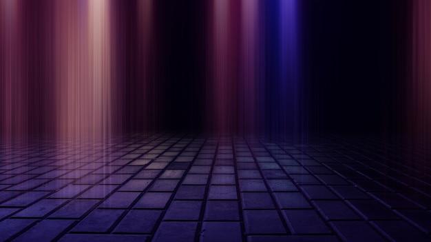 Donkere straat nat asfalt reflecties van stralen in het water abstracte donkerblauwe achtergrond rook smog lege donkere scène neonlicht schijnwerpers
