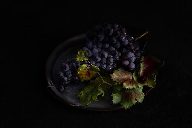 Donkere tros druiven met waterdruppels bij weinig licht, rode wijn, donkere foto met kopie ruimte