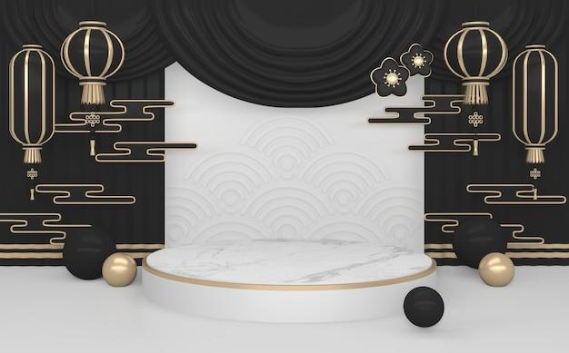 Donkere zwarte podium minimale geometrische .3d-weergave