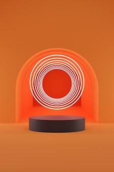 Donkergrijs cilinderpodium en witte lichtring op oranje tunnelachtergrond.