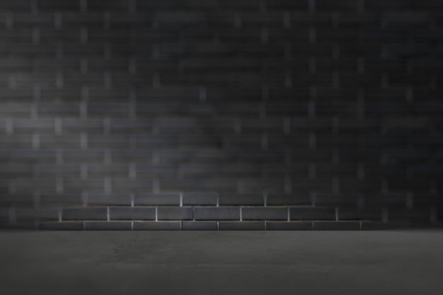Donkergrijze cementmuur met marmeren vloerproductachtergrond