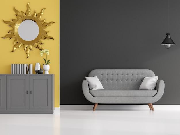 Donkergrijze en gele muur woonkamer 3d render ingericht met moderne vintage stijl bank
