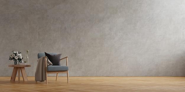 Donkergrijze fauteuil en een houten tafel in het interieur van de woonkamer met plant, betonnen muur. 3d-rendering