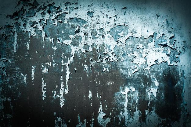 Donkergroen getij, blauw, textuur. oude roestige muur achtergronden. ruwheid en scheuren. kader, vignet