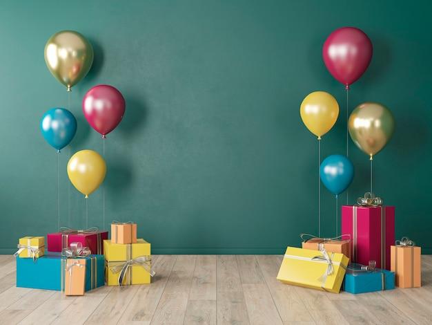 Donkergroene lege muur, kleurrijk interieur met geschenken, cadeautjes, ballonnen voor feest, verjaardag, evenementen. 3d render illustratie, mockup.