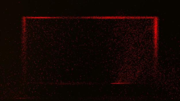 Donkerrode achtergrond met kleine rode stofdeeltjes gloeiend in een rechthoekige doos.