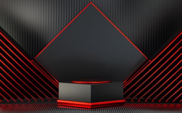 Donkerrode schoorsteenmantel met abstracte achtergrond voor productpresentatie 3d-rendering