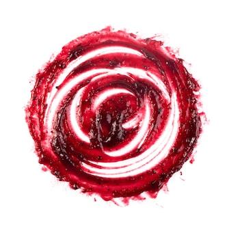 Donkerrood berry jam round blot frame of spot geïsoleerd