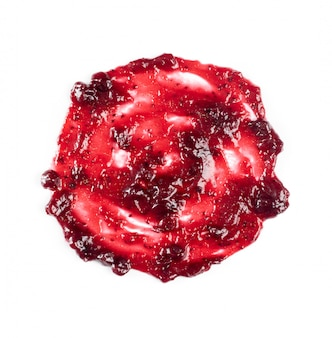 Donkerrood berry jam round blot frame of spot isolated