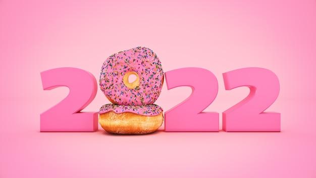 Donut concept 2022 nieuwjaar teken 3d-rendering