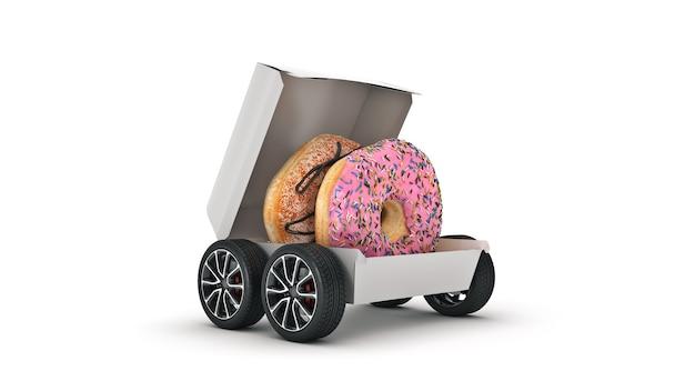 Donut levering concept levering 3d-rendering