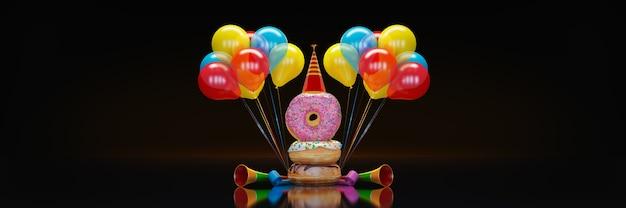 Donut met feestmuts 3d-rendering