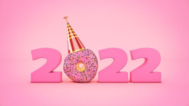 Donut met feestmuts concept 2022 nieuwjaar teken 3d-rendering