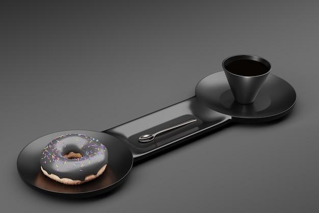 Donut met grijs glazuur en lepel met kopje koffie op een dubbel glanzend bord