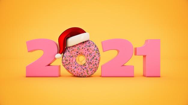 Donut met kerstmuts concept 2021 nieuwjaar teken 3d-rendering