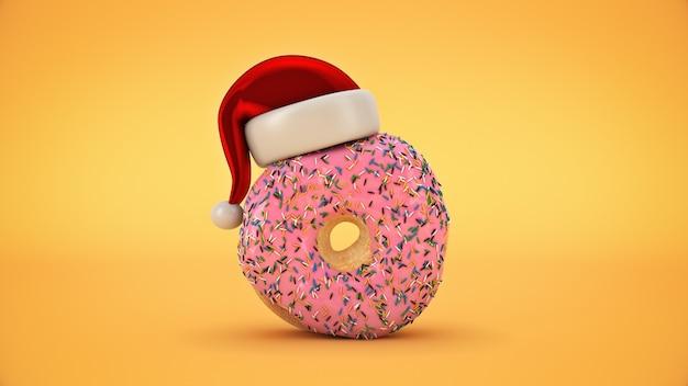 Donut met kerstmuts kerst concept 3d-rendering