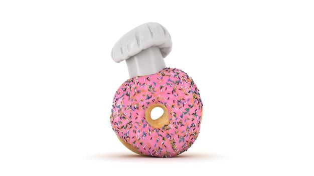 Donut met koksmuts 3d-rendering