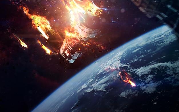 Dood van internationaal ruimtestation. science fiction ruimtebehang, ongelooflijk mooie planeten, sterrenstelsels, donkere en koude schoonheid van een eindeloos universum.