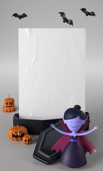 Doodskist en vampier halloween-decoratie