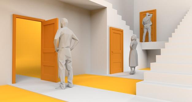 Doolhof van deuren en trappen met mensen voor deuren. ruimte kopiëren. 3d illustratie.