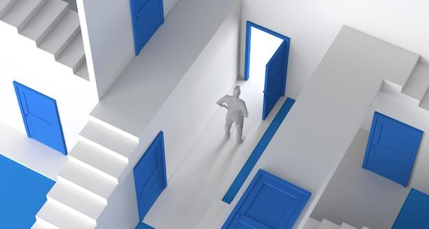 Doolhof van deuren en trappen met persoon die naar buiten komt. ruimte kopiëren. 3d illustratie.