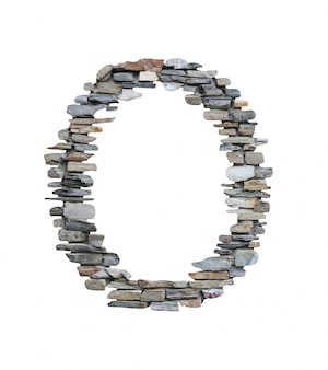 Doopvont van o om van steenmuur te creëren op wit wordt geïsoleerd dat.