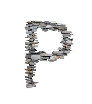 Doopvont van p om van steenmuur te creëren die op wit wordt geïsoleerd.
