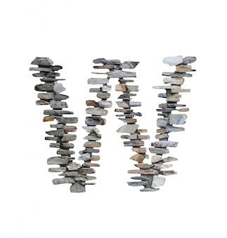 Doopvont van w om van steenmuur te creëren die op wit wordt geïsoleerd.