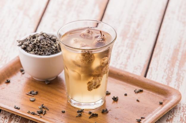 Doordrenkt water mix van gember en groene thee
