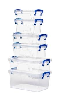 Doorzichtige plastic doos geïsoleerd op een witte achtergrond