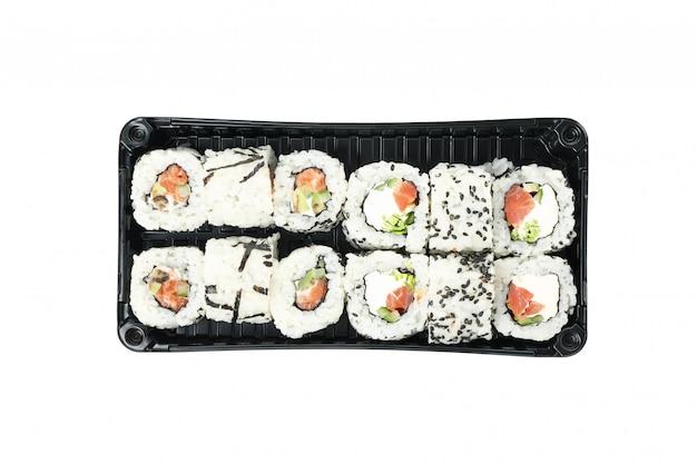 Doos met sushi geïsoleerd
