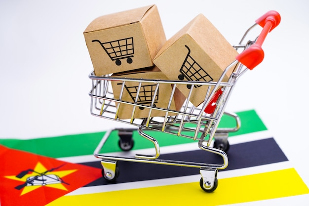 Doos met winkelwagen logo en vlag van mozambique