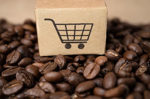 Doos met winkelwagen logo symbool op koffiebonen