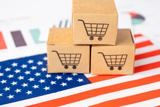 Doos met winkelwagenlogo en vlag van de verenigde staten van amerika.