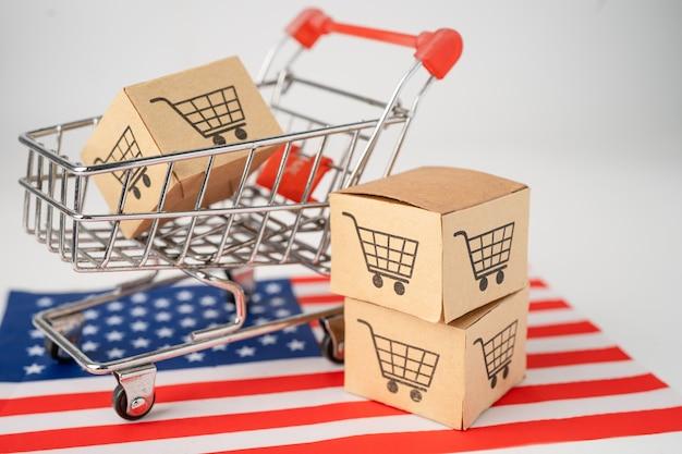Doos met winkelwagentje-logo en vlag van de vs-amerika.