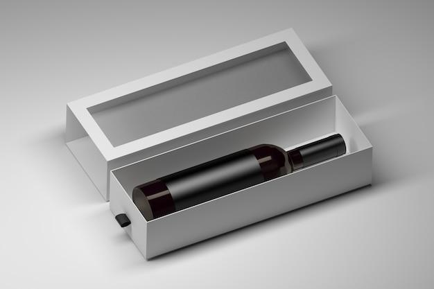 Doos sjabloon met donkere glazen wijnfles in witte lege geschenkdoos op wit