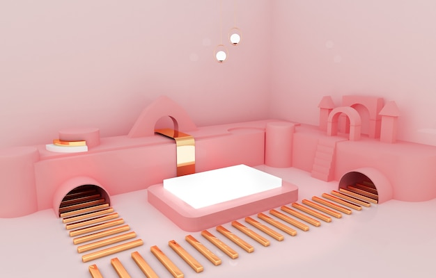 Doospodium met roze achtergrond voor productvertoning