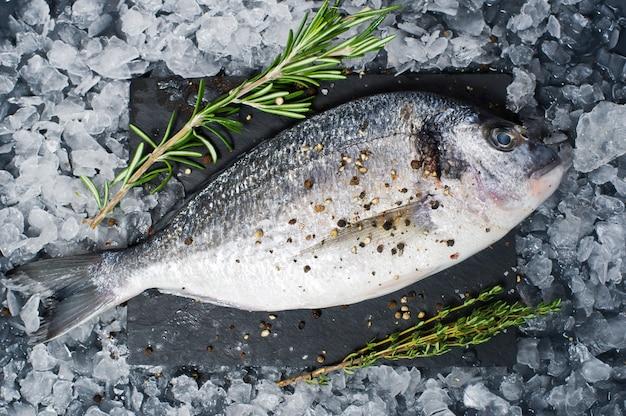 Dorado-vissen ruw op een zwarte hakbord, ingrediëntrozemarijn, ijs.