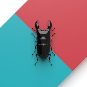 Dorcus titanus 3d render op rood en blauw