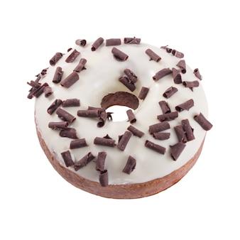 Doughnut in wight chocolade met chips