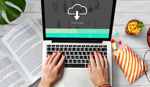 Download informatie data netwerk concept