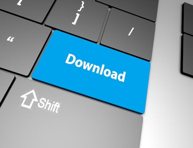 Download knop toetsenbord, 3d-rendering